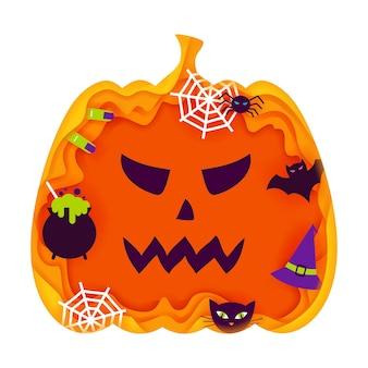 Halloween-kürbis-papierschnitt-konzept. vektor-illustration. süßes oder saures.