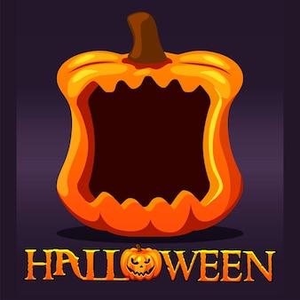 Halloween-kürbis-rahmen-avatar, leere vorlage für das spiel. vector illustration orange feiertagskürbis für grafikdesign.