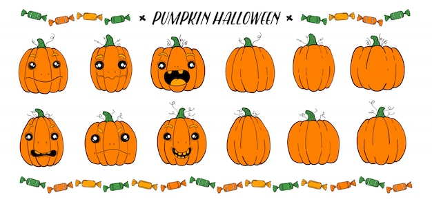 Halloween kürbis set.