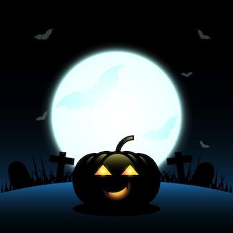 Halloween-kürbis stellte vollmondhintergrund her
