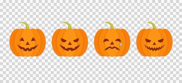 Halloween-kürbis-symbol. vektor-illustration. gruselige und traurige kürbisse im flachen design.