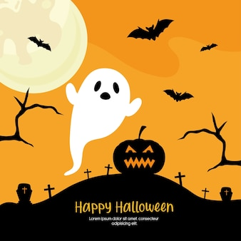 Halloween kürbis und geist cartoons design, halloween-thema.