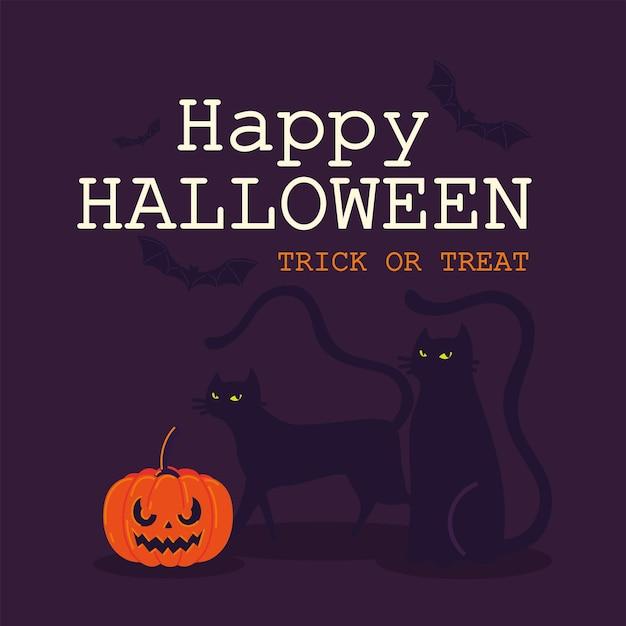 Halloween-kürbis und katzen