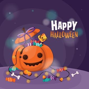 Halloween kürbis und süßigkeiten süßes oder saures.