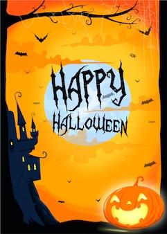 Halloween-kürbis unter dem mondvektorplakat