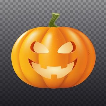 Halloween-kürbis-vektor-illustration herbstferien closeup auf transparentem hintergrund isoliert
