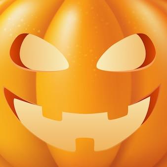 Halloween-kürbis-vektor-illustration. lustiges gesicht nahaufnahme. herbstferien