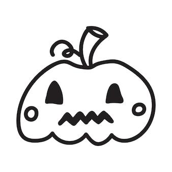 Halloween-kürbis. vektorkonzept im doodle- und skizzenstil. handgezeichnete illustration zum bedrucken von t-shirts, postkarten. symbol- und logoidee.