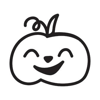 Halloween-kürbis-vektorkonzept in der gezeichneten illustration der gekritzel- und skizzenart hand