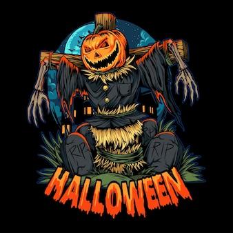 Halloween-kürbis-vogelscheuche mitten auf dem friedhof halloween-nacht-vektor