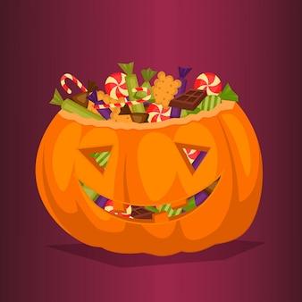 Halloween kürbis voller süßigkeiten.