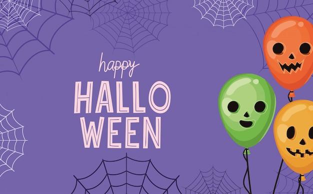 Halloween-kürbisballons mit spinnennetzentwurf, feiertag und gruseligem thema