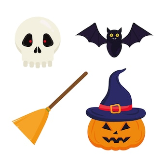 Halloween kürbisbesen fledermaus und schädel design, halloween-thema.