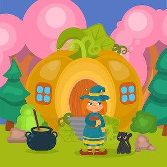 Halloween-kürbishaus mit hexe und katze, illustration. furchterregende feiertagskarikaturfigur nahe magischem haus, mädchen im hut.