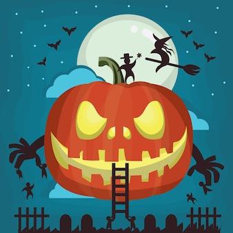 Halloween-kürbishintergrund im flachen design