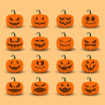 Halloween-kürbisikone eingestellt mit emoji schablone