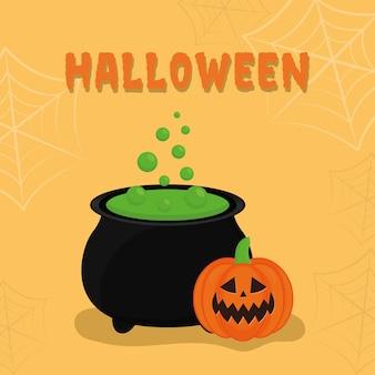 Halloween-kürbiskarikatur mit hexenschüsselentwurf, gruseliges thema