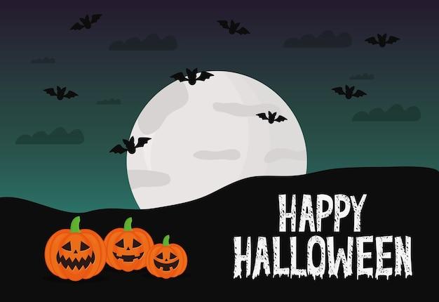 Halloween-kürbiskarikaturen mit fledermausdesign, gruseliges thema