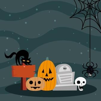 Halloween-kürbiskarikaturen mit grab- und katzendesign, gruseliges thema