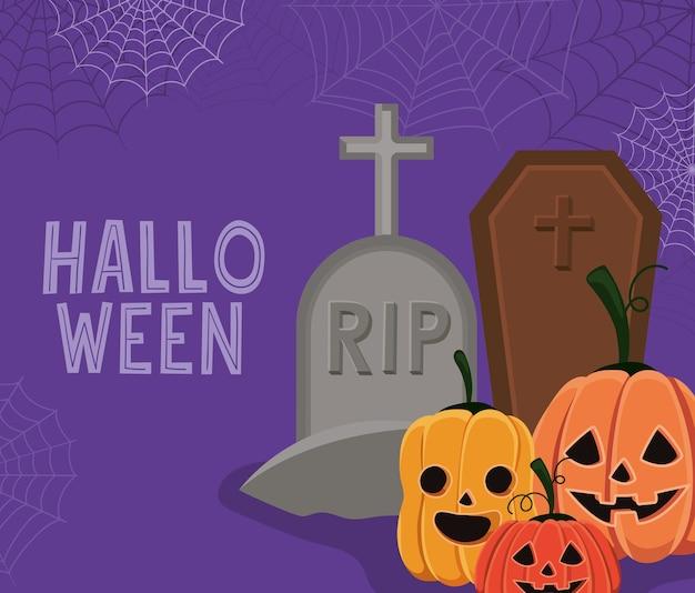 Halloween-kürbiskarikaturen mit grabentwurf, feiertag und gruseligem thema