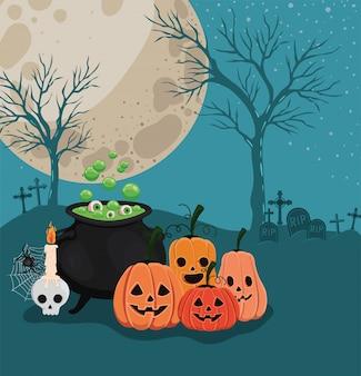 Halloween-kürbiskarikaturen und hexenschale vor friedhofsentwurf, feiertag und gruseliges thema