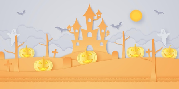 Halloween-kürbiskopf auf hügel mit schloss, friedhof, fledermaus, geist und hellem mond, papierkunststil