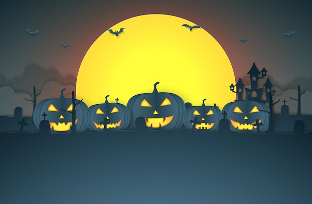 Halloween-kürbiskopf mit burgfriedhof auf dem hügel und supermondkopie spacepaper art style