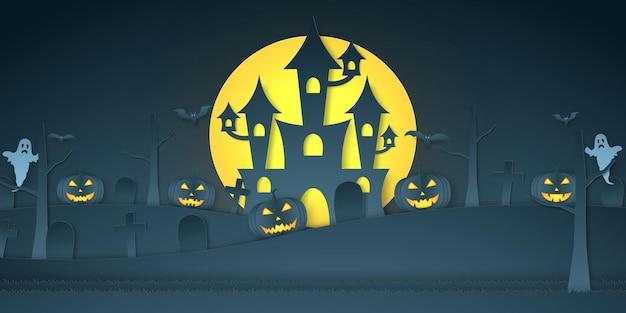 Halloween-kürbiskopf, schloss, friedhof, fledermaus, geist und heller mond, papierkunststil