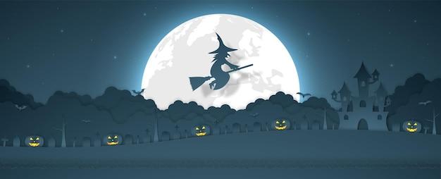 Halloween-kürbiskopfhexe, die über wolke mit schlossfriedhof auf dem hügel und vollmond fliegt