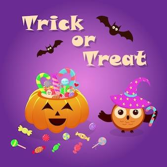 Halloween-kürbiskorb voller süßigkeiten und süßigkeiten und eule in einem zauberhut