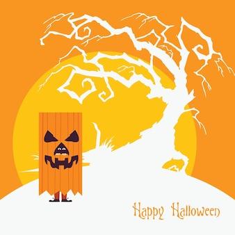 Halloween-kürbismonster, das über einem flachen gruseligen hintergrunddesign des toten baums steht