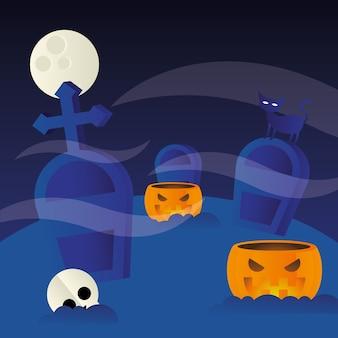 Halloween kürbisse am friedhof, feiertag und gruselige illustration