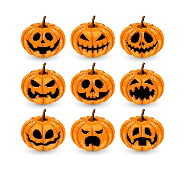 Halloween-kürbisse auf weißem hintergrund in vektor-eps 10 eingestellt