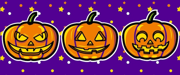 Halloween kürbisse ausdrücke vektorgrafiken