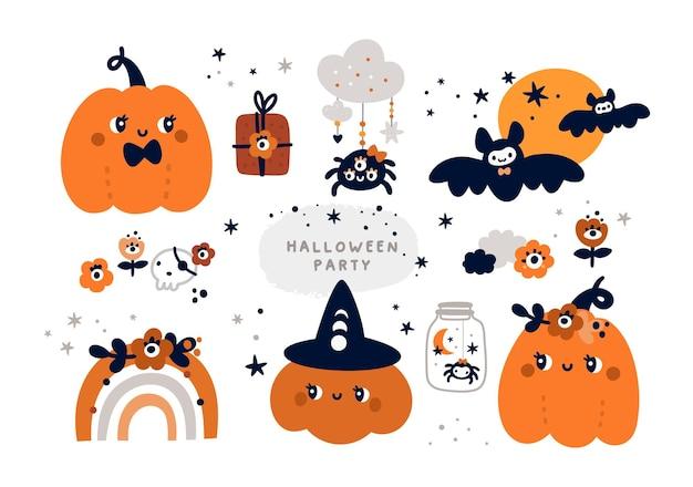 Halloween-kürbisse fledermausspinne sammlung herbstteily