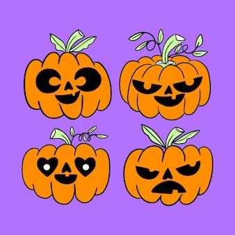 Halloween-kürbisse im aquarellstil