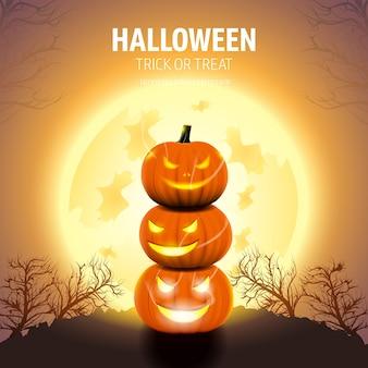 Halloween kürbisse mit mondlicht und bäumen.