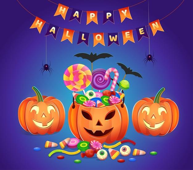 Halloween kürbisse mit süßigkeiten. karikaturillustration. symbol für spiele und mobile anwendungen.