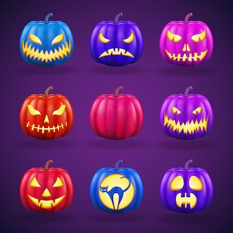 Halloween-kürbisse mit verschiedenen gesichtern. realistische detaillierte darstellung