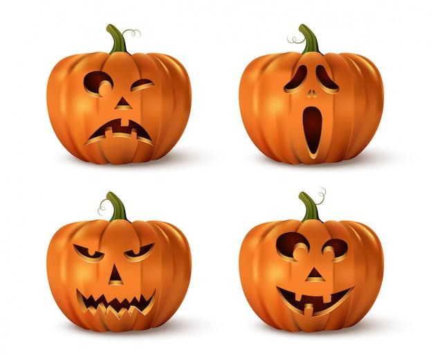 Halloween kürbisse set isoliert. Premium Vektoren