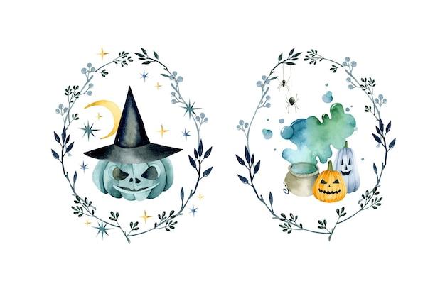 Halloween-kürbisse-zusammensetzung mit blattrahmen-aquarellsammlung