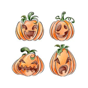 Halloween-kürbisset im aquarellstil