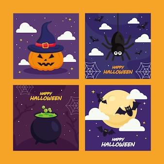 Halloween kürbisspinne und fledermauskarikaturenentwurf, halloween-thema.