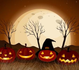 Halloween-Kürbis bei Vollmond-Nacht