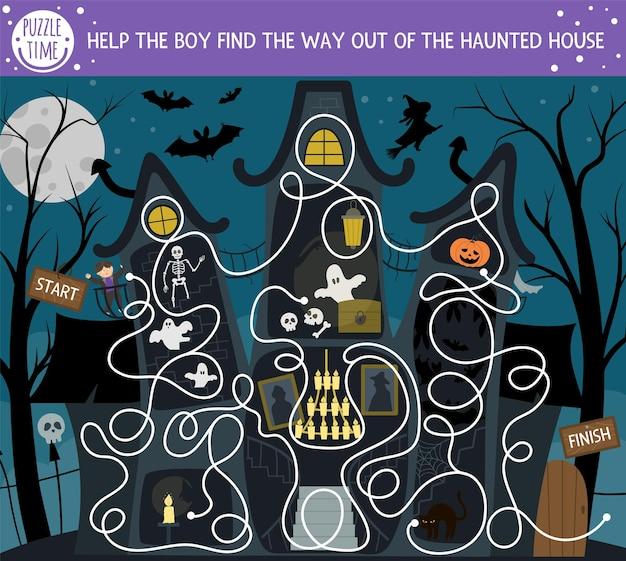 Halloween-labyrinth für kinder. druckbare bildungsaktivität für den herbst im vorschulalter. lustiger tag des toten spiels oder puzzles mit gruseliger szene. hilf dem jungen, den weg aus dem spukhaus zu finden