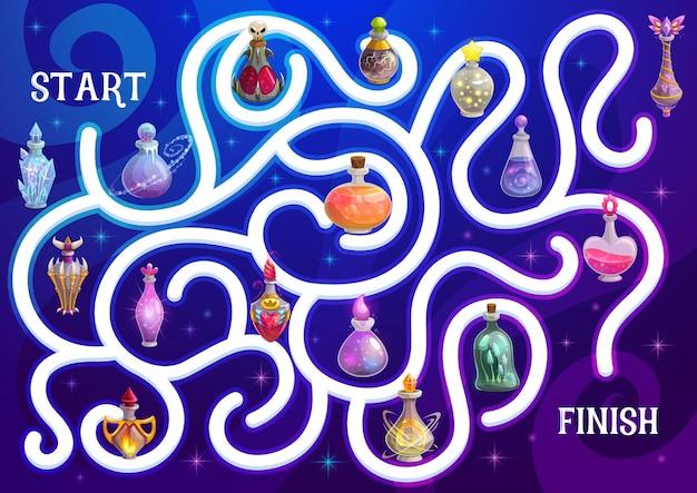 Halloween-labyrinth- oder labyrinth-spiel mit zaubertrank
