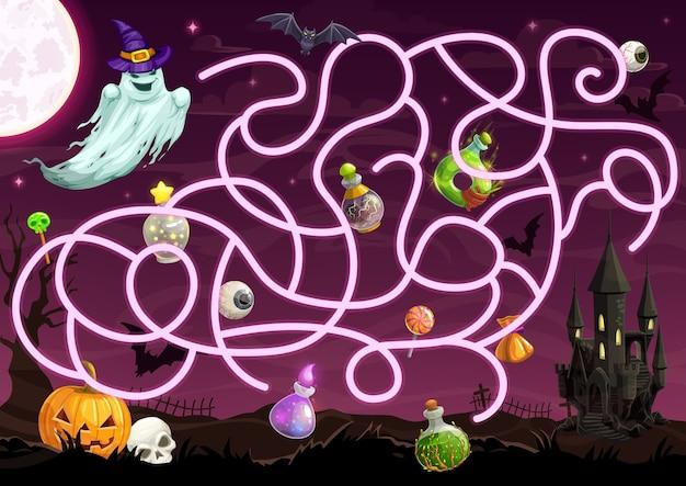 Halloween-labyrinthspiel mit labyrinthschablone des kinderbildungs-puzzle-entwurfs