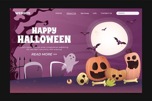 Halloween-landingpage-vorlage mit farbverlauf