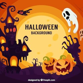 Halloween landschaft hintergrund mit kürbisse und geist
