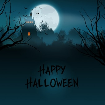 Halloween-landschaft mit gruseligen schloss